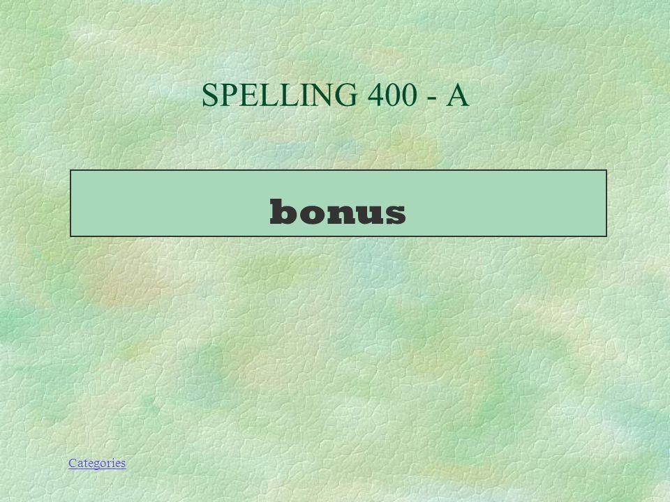 Categories BONUS!!