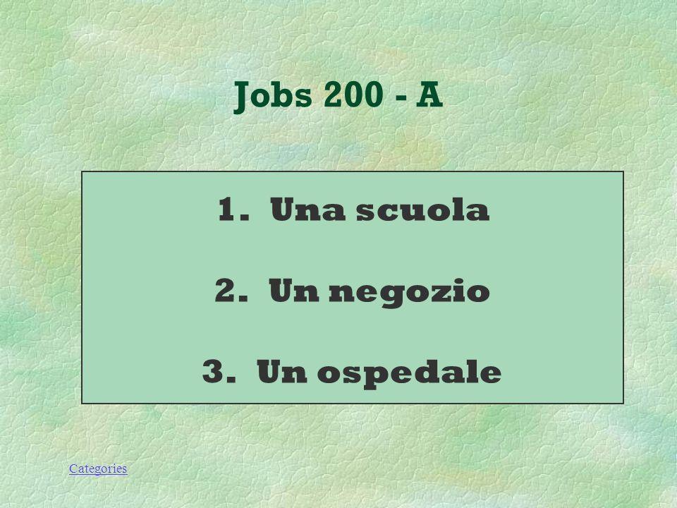 Categories Jobs 200 - Q Dove lavorano: 1.Una professoressa 2.Una commessa 3.Un dottore