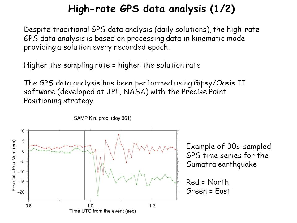 High-rate GPS data analysis (1/2) Despite traditional GPS data analysis (daily solutions), the high-rate GPS data analysis is based on processing data in kinematic mode providing a solution every recorded epoch.