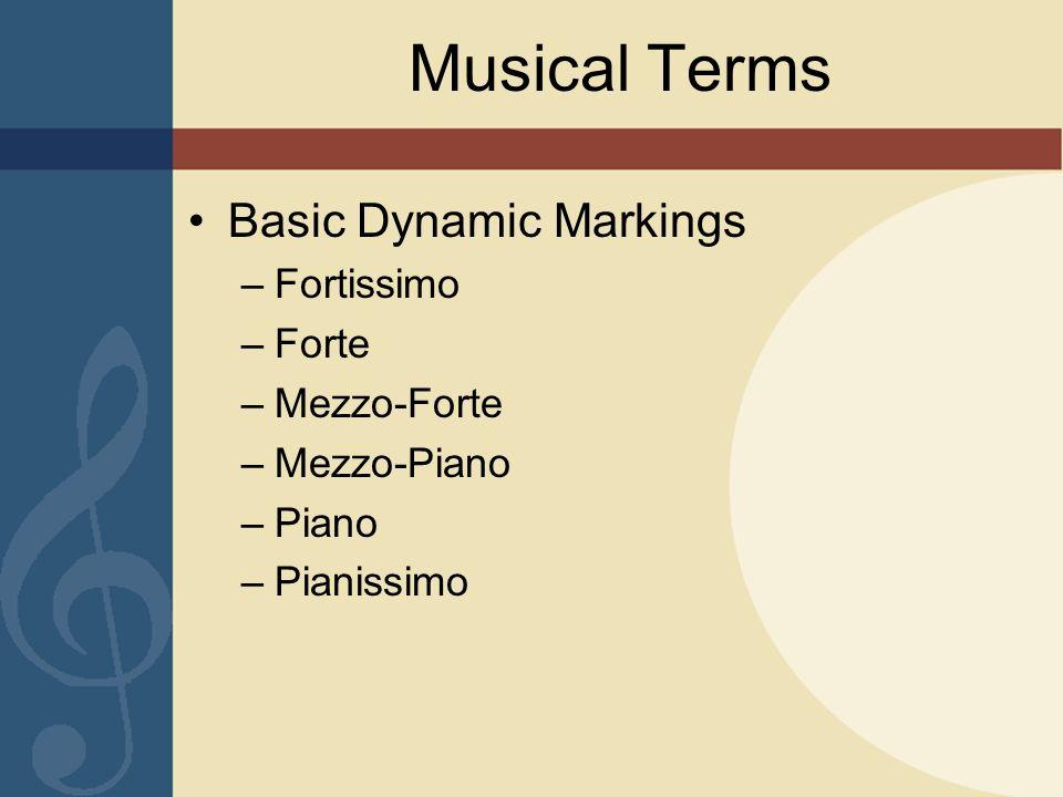 Musical Terms Basic Dynamic Markings –Fortissimo –Forte –Mezzo-Forte –Mezzo-Piano –Piano –Pianissimo
