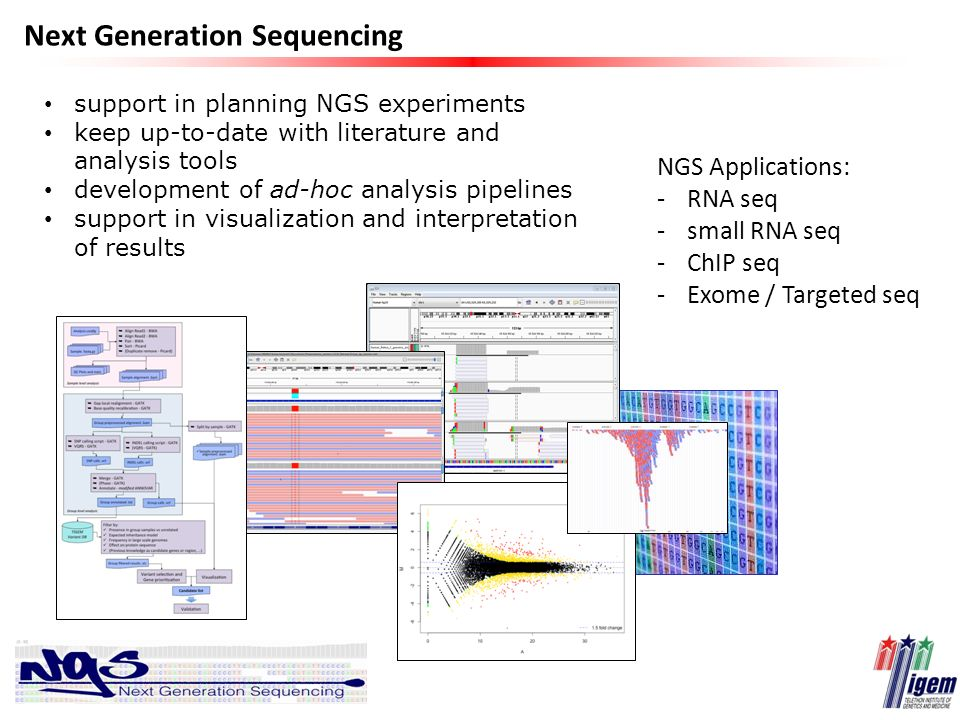 Next Generation Sequencing support in planning NGS experiments keep up-to-date with literature and analysis tools development of ad-hoc analysis pipel