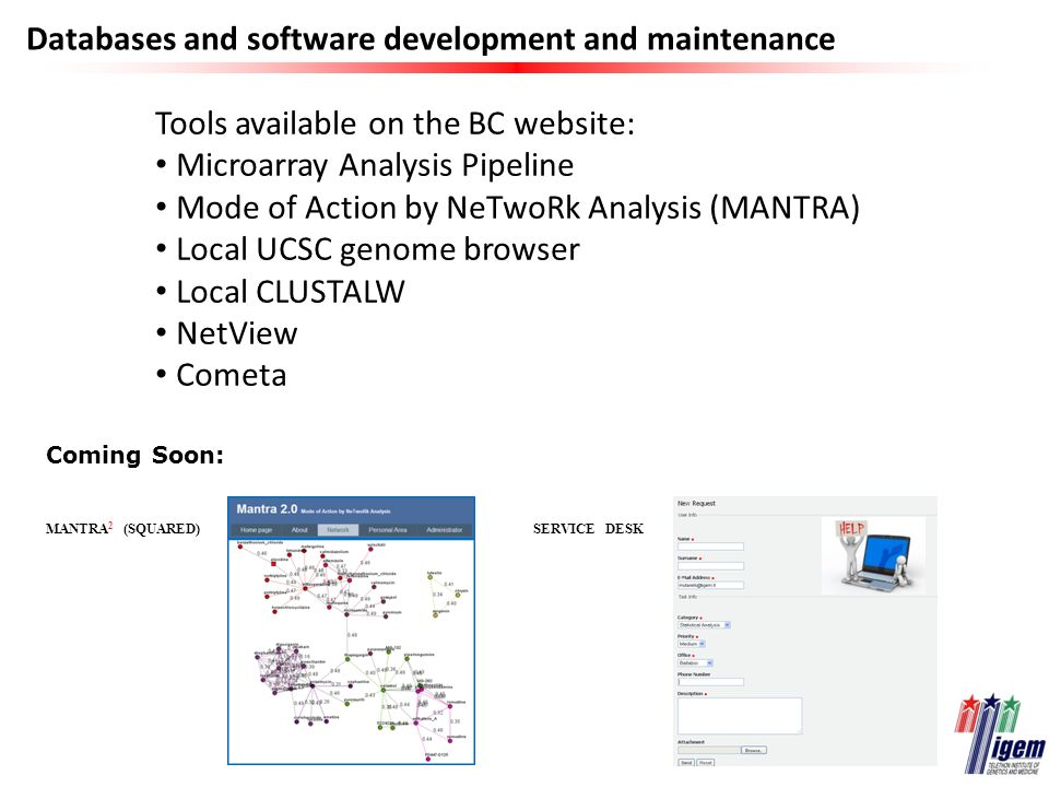 Databases and software development and maintenance Tools available on the BC website: Microarray Analysis Pipeline Mode of Action by NeTwoRk Analysis (MANTRA) Local UCSC genome browser Local CLUSTALW NetView Cometa Coming Soon: MANTRA 2 (SQUARED)SERVICE DESK