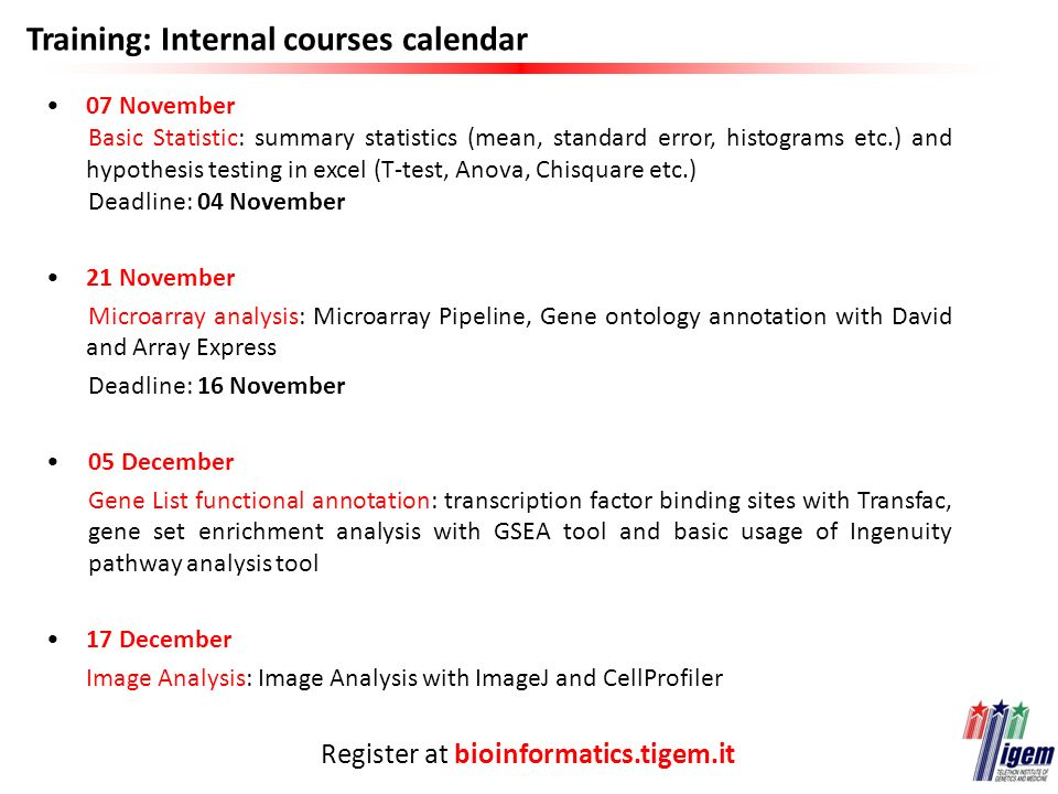 Training: Internal courses calendar 07 November Basic Statistic: summary statistics (mean, standard error, histograms etc.) and hypothesis testing in excel (T-test, Anova, Chisquare etc.) Deadline: 04 November 21 November Microarray analysis: Microarray Pipeline, Gene ontology annotation with David and Array Express Deadline: 16 November 05 December Gene List functional annotation: transcription factor binding sites with Transfac, gene set enrichment analysis with GSEA tool and basic usage of Ingenuity pathway analysis tool 17 December Image Analysis: Image Analysis with ImageJ and CellProfiler Register at bioinformatics.tigem.it