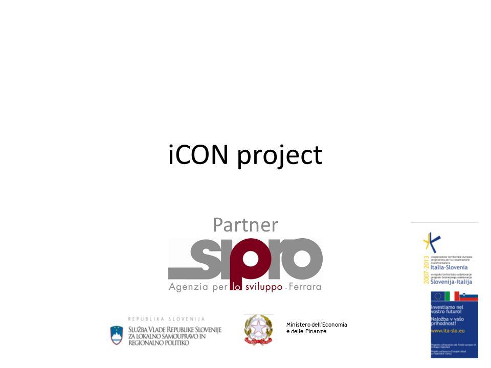 iCON project Partner Ministero dell Economia e delle Finanze