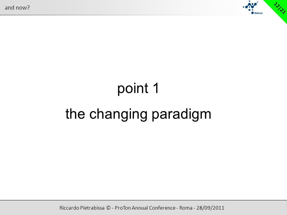 Riccardo Pietrabissa © - ProTon Annual Conference - Roma - 28/09/2011 12|21 and now? point 1 the changing paradigm