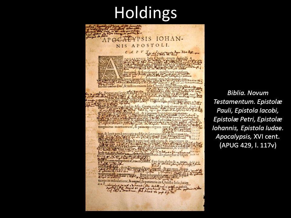 Holdings Biblia. Novum Testamentum.