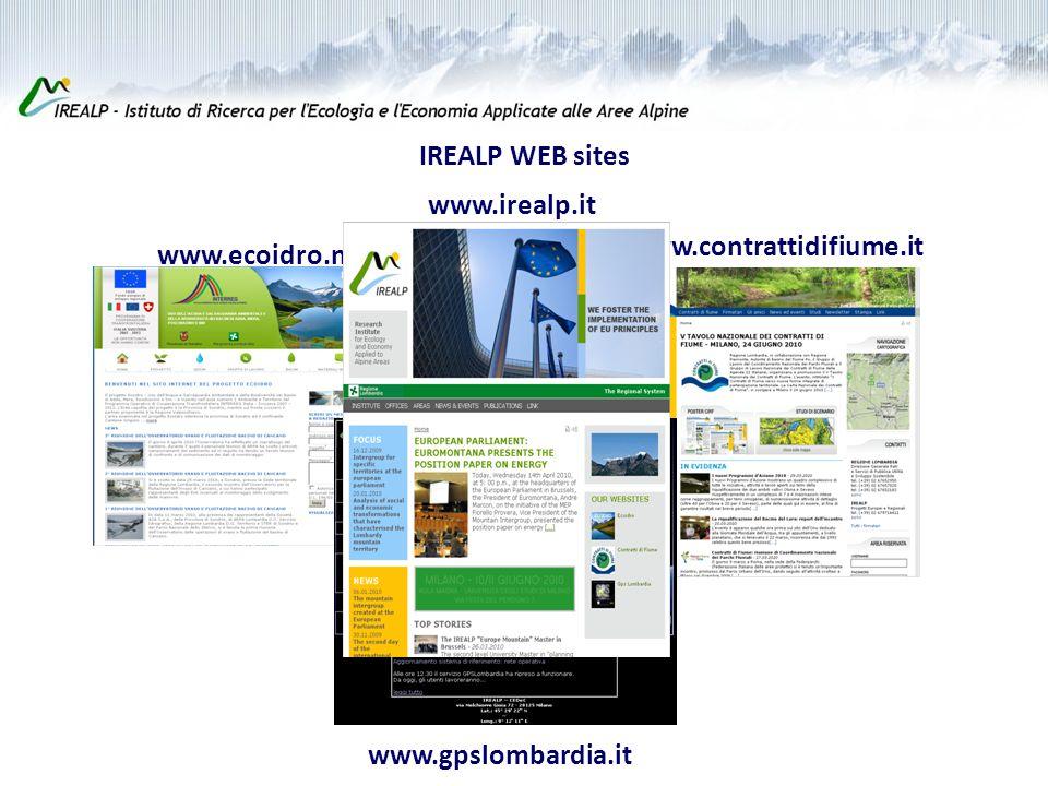 IREALP WEB sites www.ecoidro.net www.contrattidifiume.it www.gpslombardia.it www.irealp.it