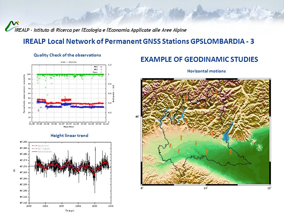 Quality Check of the observations Height linear trend Horizontal motions EXAMPLE OF GEODINAMIC STUDIES IREALP Local Network of Permanent GNSS Stations GPSLOMBARDIA - 3
