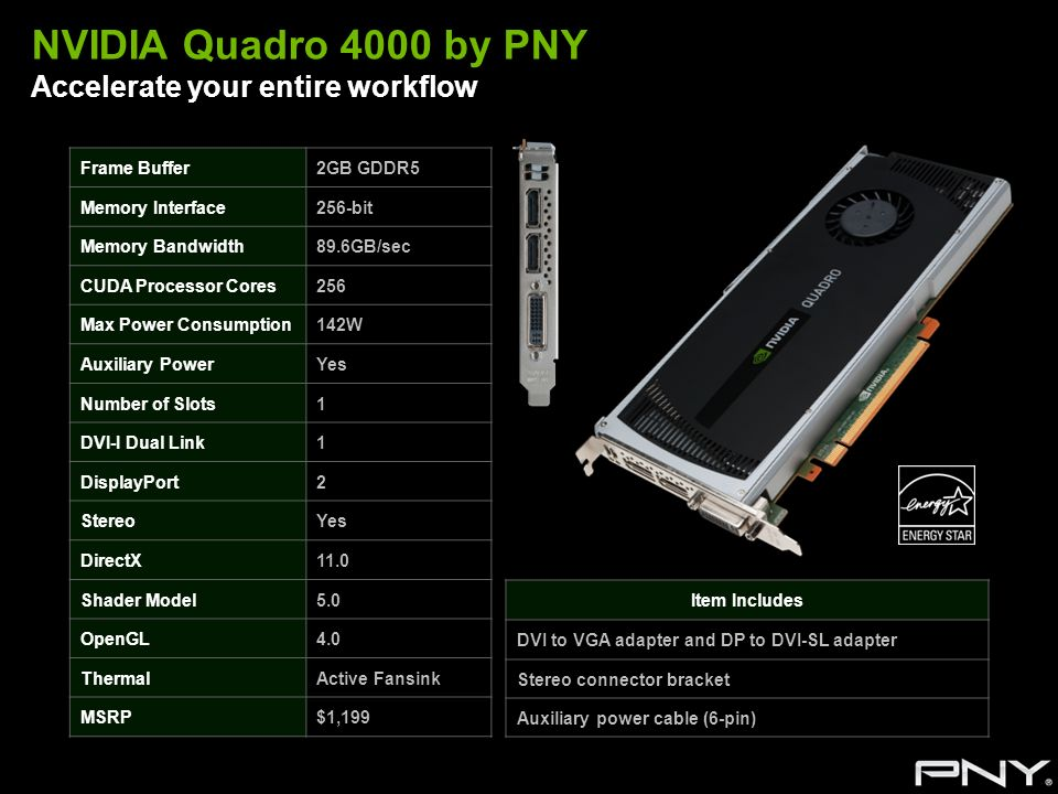 NVIDIA Quadro 4000 by PNY Accelerate your entire workflow Frame Buffer2GB GDDR5 Memory Interface256-bit Memory Bandwidth89.6GB/sec CUDA Processor Core