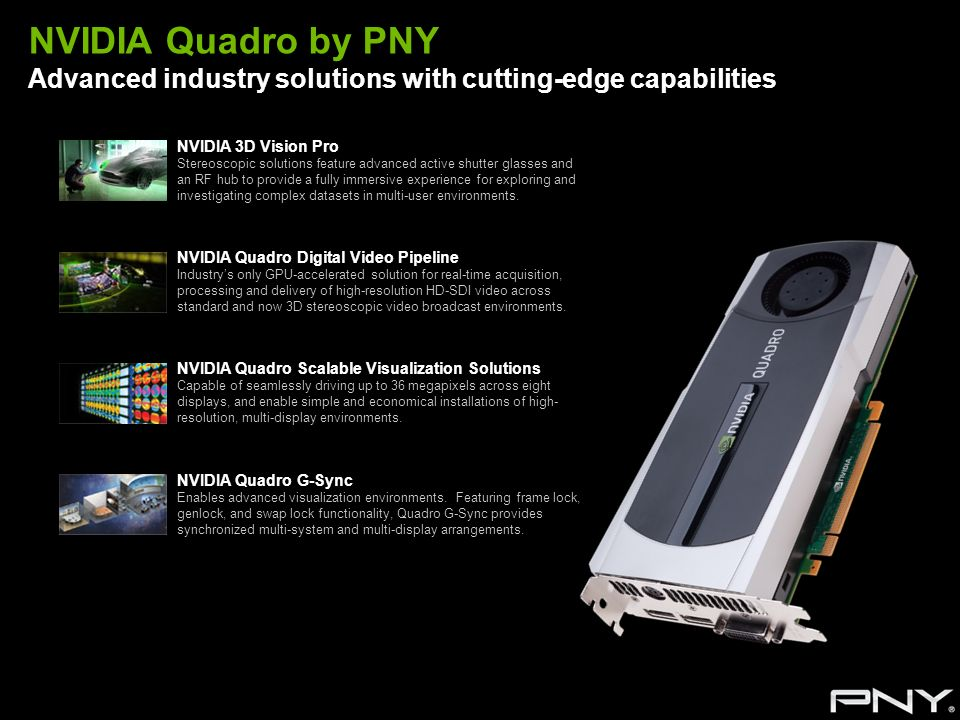NVIDIA Quadro by PNY Advanced industry solutions with cutting-edge capabilities NVIDIA 3D Vision Pro Stereoscopic solutions feature advanced active sh