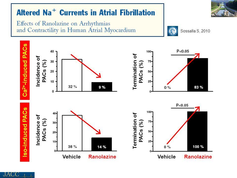 Incidence of PACs (%) Termination of PACs (%) VehicleRanolazineVehicleRanolazine Iso-induced PACs Ca 2+ -induced PACs Sossalla S, 2010 Termination of