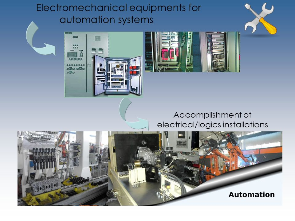 Electromechanical equipments for automation systems Accomplishment of electrical/logics installations