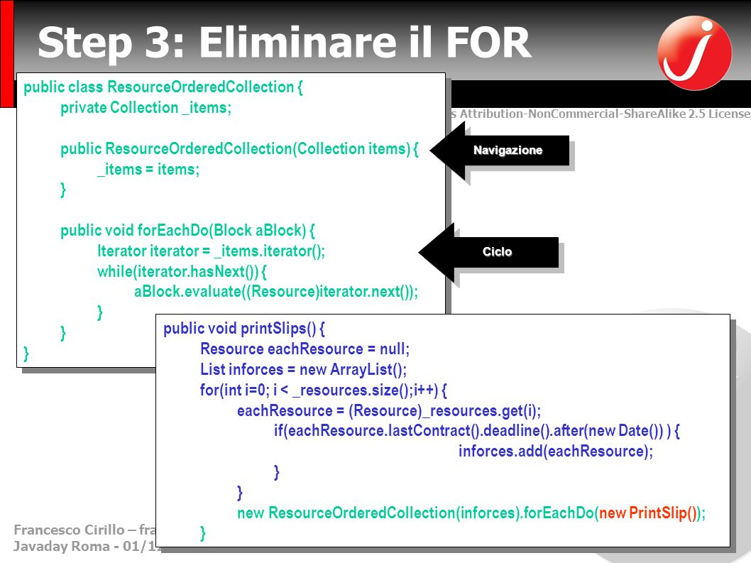 Creative Commons Attribution-NonCommercial-ShareAlike 2.5 License Francesco Cirillo – francesco.cirillo@metodiagili.it- MetodiAgili.it Javaday Roma - 01/12/2007 Step 3: Eliminare il FOR public class ResourceOrderedCollection { private Collection _items; public ResourceOrderedCollection(Collection items) { _items = items; } public void forEachDo(Block aBlock) { Iterator iterator = _items.iterator(); while(iterator.hasNext()) { aBlock.evaluate((Resource)iterator.next()); } public class ResourceOrderedCollection { private Collection _items; public ResourceOrderedCollection(Collection items) { _items = items; } public void forEachDo(Block aBlock) { Iterator iterator = _items.iterator(); while(iterator.hasNext()) { aBlock.evaluate((Resource)iterator.next()); } public void printSlips() { Resource eachResource = null; List inforces = new ArrayList(); for(int i=0; i < _resources.size();i++) { eachResource = (Resource)_resources.get(i); if(eachResource.lastContract().deadline().after(new Date()) ) { inforces.add(eachResource); } new ResourceOrderedCollection(inforces).forEachDo(new PrintSlip()); } public void printSlips() { Resource eachResource = null; List inforces = new ArrayList(); for(int i=0; i < _resources.size();i++) { eachResource = (Resource)_resources.get(i); if(eachResource.lastContract().deadline().after(new Date()) ) { inforces.add(eachResource); } new ResourceOrderedCollection(inforces).forEachDo(new PrintSlip()); } NavigazioneNavigazione CicloCiclo
