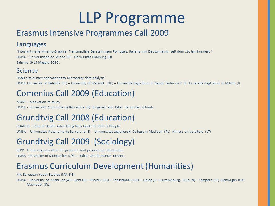 LLP Programme Erasmus Intensive Programmes Call 2009 Languages Interkulturelle Mnemo-Graphie Transmediale Darstellungen Portugals, Italiens und Deutschlands seit dem 19.