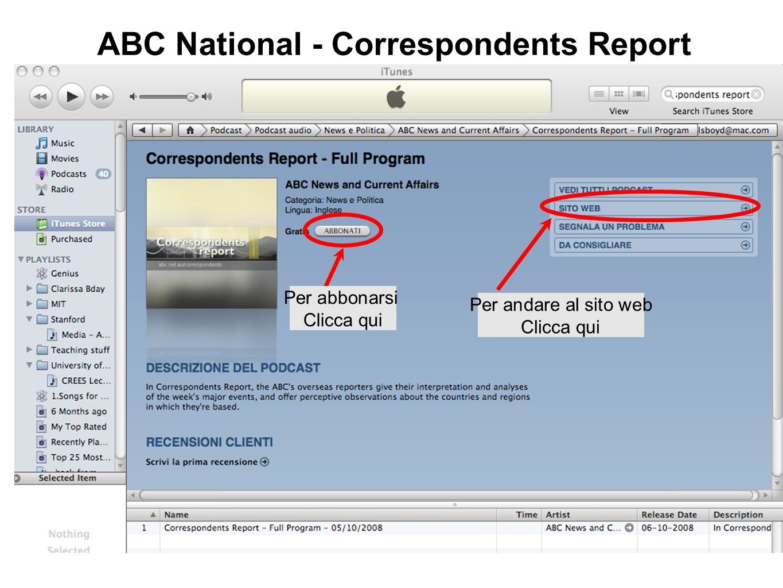 ABC National - Correspondents Report Per abbonarsi Clicca qui Per andare al sito web Clicca qui