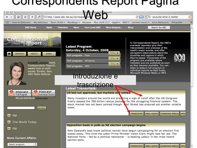 Introduzione e trascrizione Correspondents Report Pagina Web