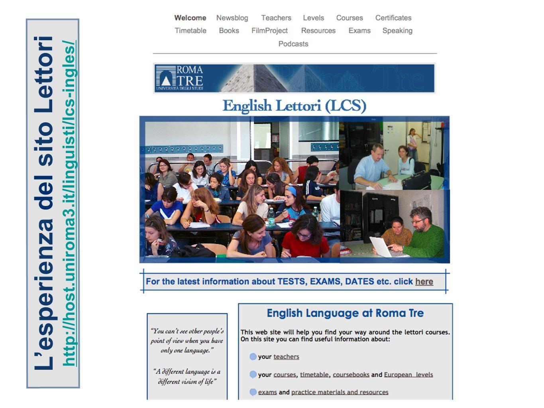 Lesperienza del sito Lettori http://host.uniroma3.it/linguisti/lcs-ingles/