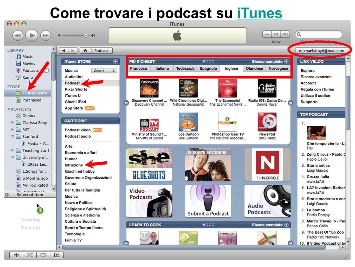 Come trovare i podcast su iTunesiTunes