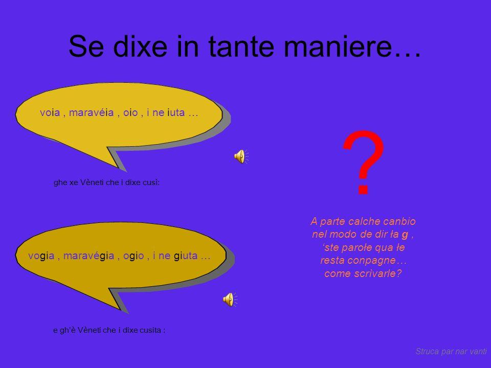 Par fortuna, ghe xe parołe che resta conpagne in tuto el Vèneto… Tuti i Vèneti i łe dixe co S dura ocio.