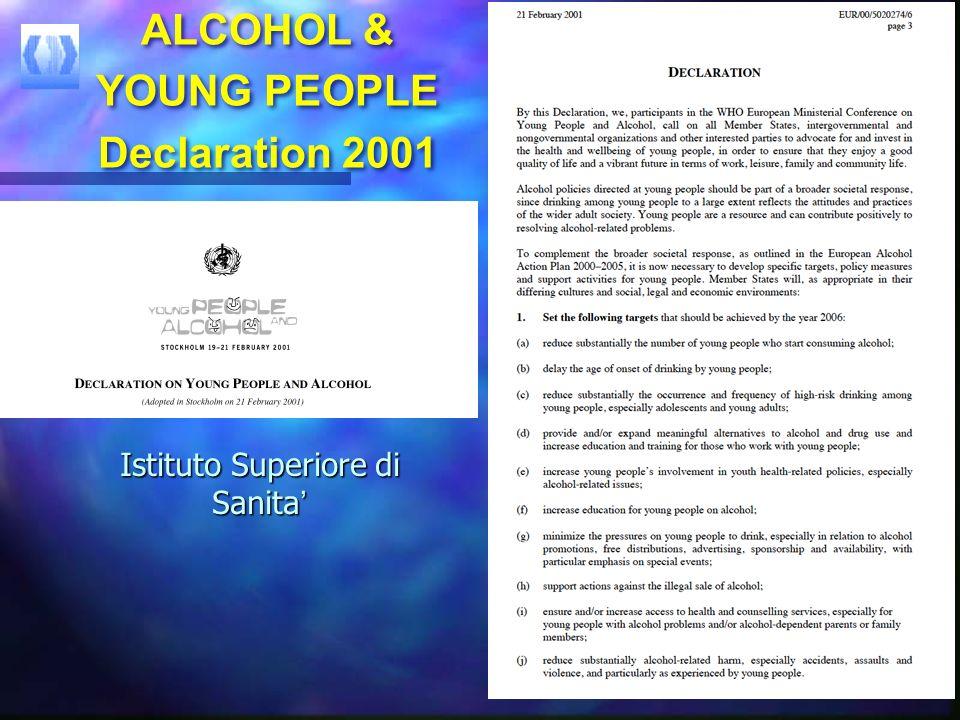YOUNG PEOPLE & ALCOHOL European recalls YOUNG PEOPLE & ALCOHOL European recalls Tutti i bambini e gli adolescenti hanno il diritto di crescere in un a