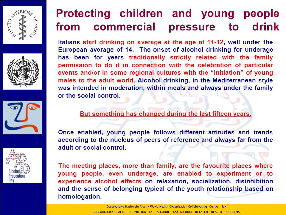 ALCOHOL & YOUNG PEOPLE Declaration 2001 ALCOHOL & YOUNG PEOPLE Declaration 2001 Istituto Superiore di Sanita Istituto Superiore di Sanita
