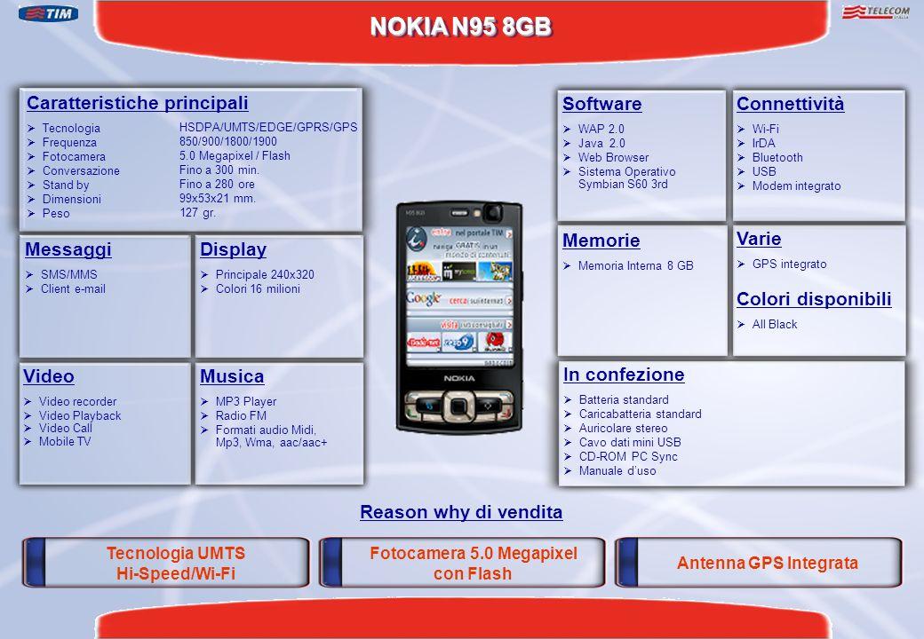 NOKIA N95 8GB Fotocamera 5.0 Megapixel con Flash Antenna GPS Integrata Reason why di vendita Caratteristiche principali Tecnologia Frequenza Fotocamer