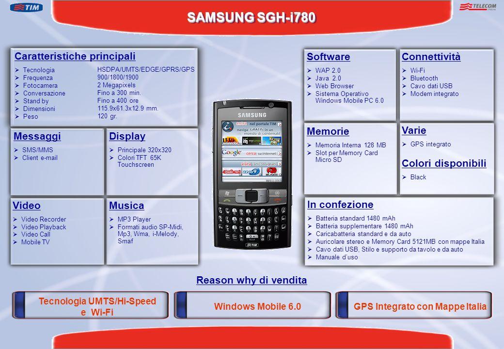 SAMSUNG SGH-i780 Reason why di vendita Caratteristiche principali Tecnologia Frequenza Fotocamera Conversazione Stand by Dimensioni Peso Display Princ