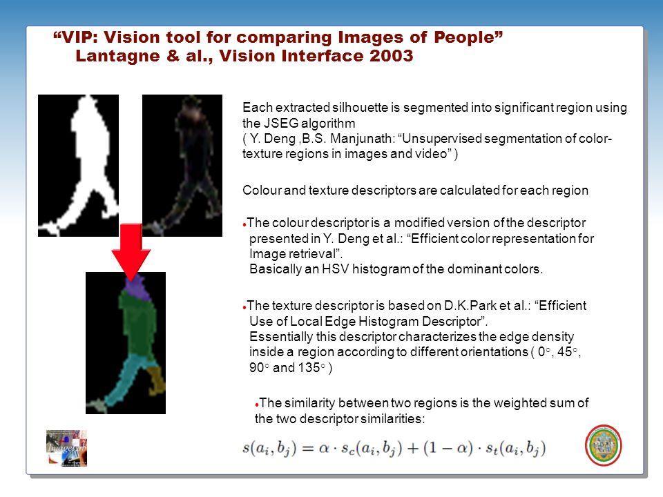 Roberto Vezzani - Imagelab – Università di Modena e Reggio Emilia VIP: Vision tool for comparing Images of People Lantagne & al., Vision Interface 200