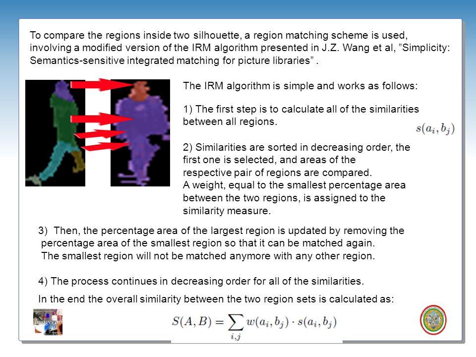 Roberto Vezzani - Imagelab – Università di Modena e Reggio Emilia To compare the regions inside two silhouette, a region matching scheme is used, invo