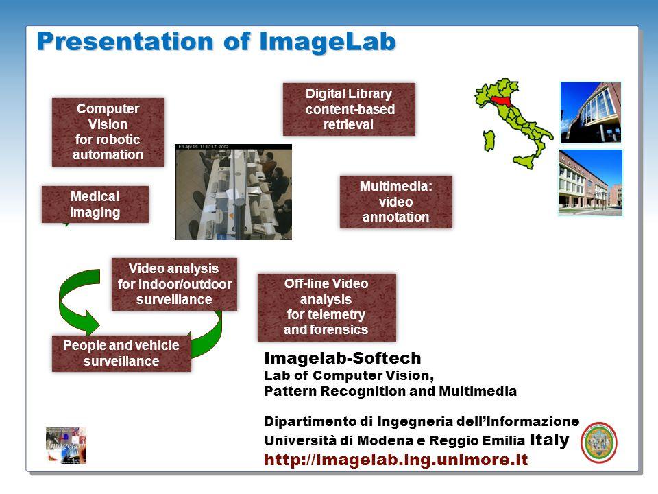 Presentation of ImageLab Computer Vision for robotic automation Computer Vision for robotic automation Digital Library content-based retrieval Digital