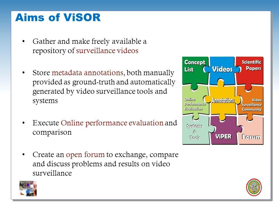 Roberto Vezzani - Imagelab – Università di Modena e Reggio Emilia Aims of ViSOR Gather and make freely available a repository of surveillance videos S