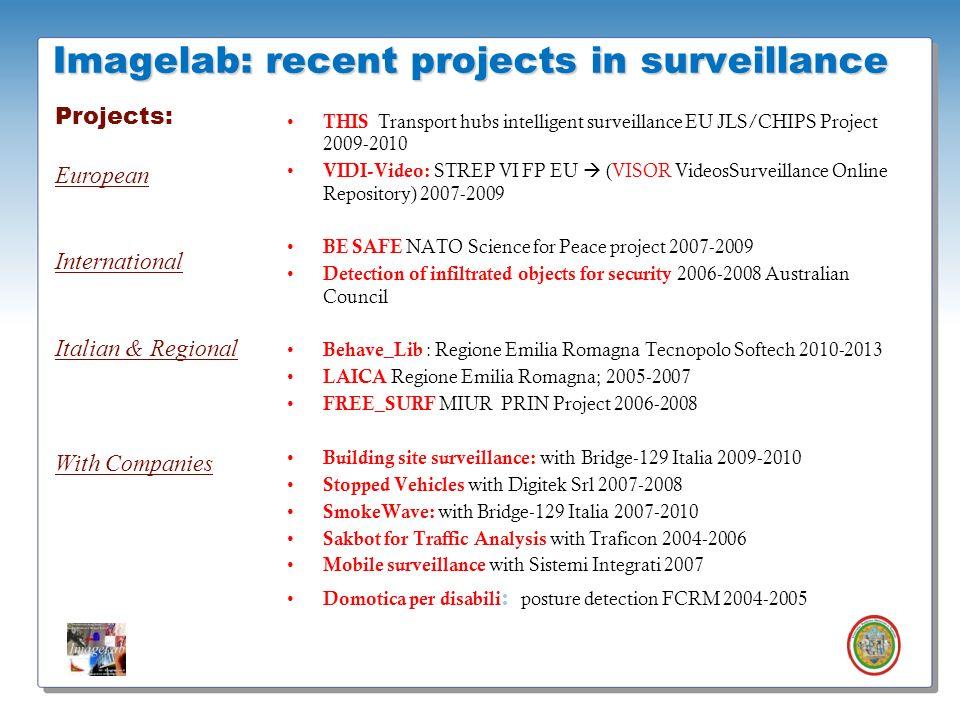 Roberto Vezzani - Imagelab – Università di Modena e Reggio Emilia Imagelab: recent projects in surveillance THIS Transport hubs intelligent surveillan