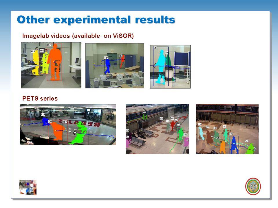 Roberto Vezzani - Imagelab – Università di Modena e Reggio Emilia Other experimental results Imagelab videos (available on ViSOR) PETS series