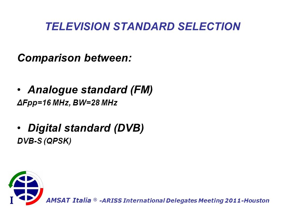 AMSAT Italia ® -ARISS International Delegates Meeting 2011-Houston TELEVISION STANDARD SELECTION Comparison between: Analogue standard (FM) ΔFpp=16 MHz, BW=28 MHz Digital standard (DVB) DVB-S (QPSK)