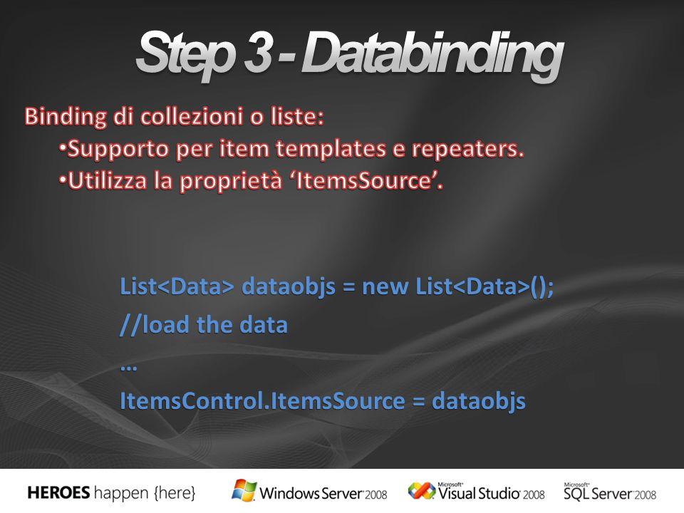List dataobjs = new List (); //load the data … ItemsControl.ItemsSource = dataobjs