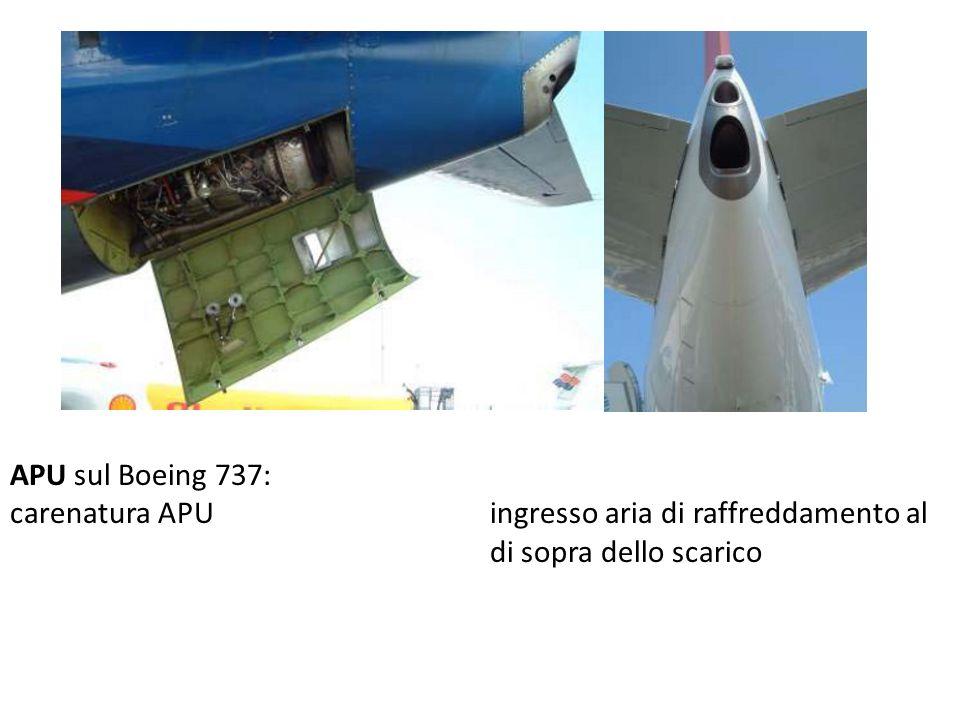 APU sul Boeing 737: carenatura APU ingresso aria di raffreddamento al di sopra dello scarico