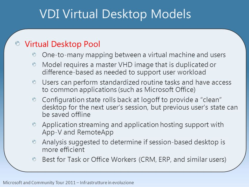 Microsoft and Community Tour 2011 – Infrastrutture in evoluzione VDI Virtual Desktop Models Virtual Desktop Pool One-to-many mapping between a virtual