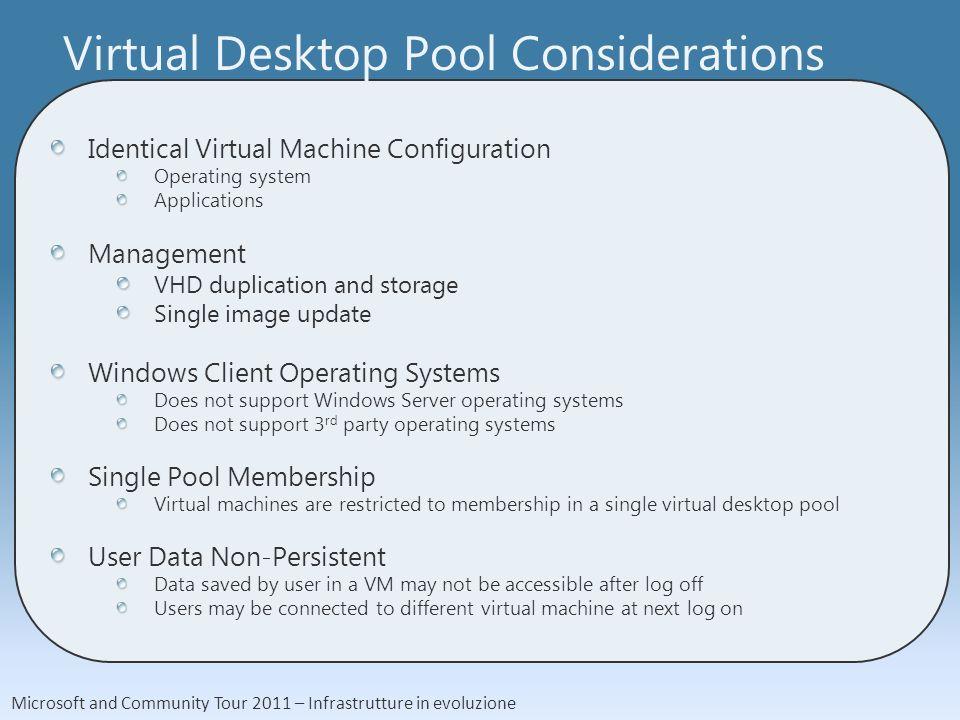 Microsoft and Community Tour 2011 – Infrastrutture in evoluzione Virtual Desktop Pool Considerations Identical Virtual Machine Configuration Operating