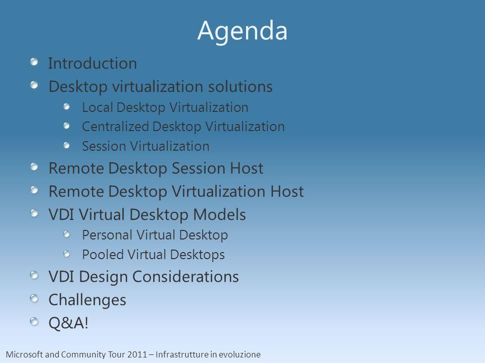 Microsoft and Community Tour 2011 – Infrastrutture in evoluzione Agenda Introduction Desktop virtualization solutions Local Desktop Virtualization Cen