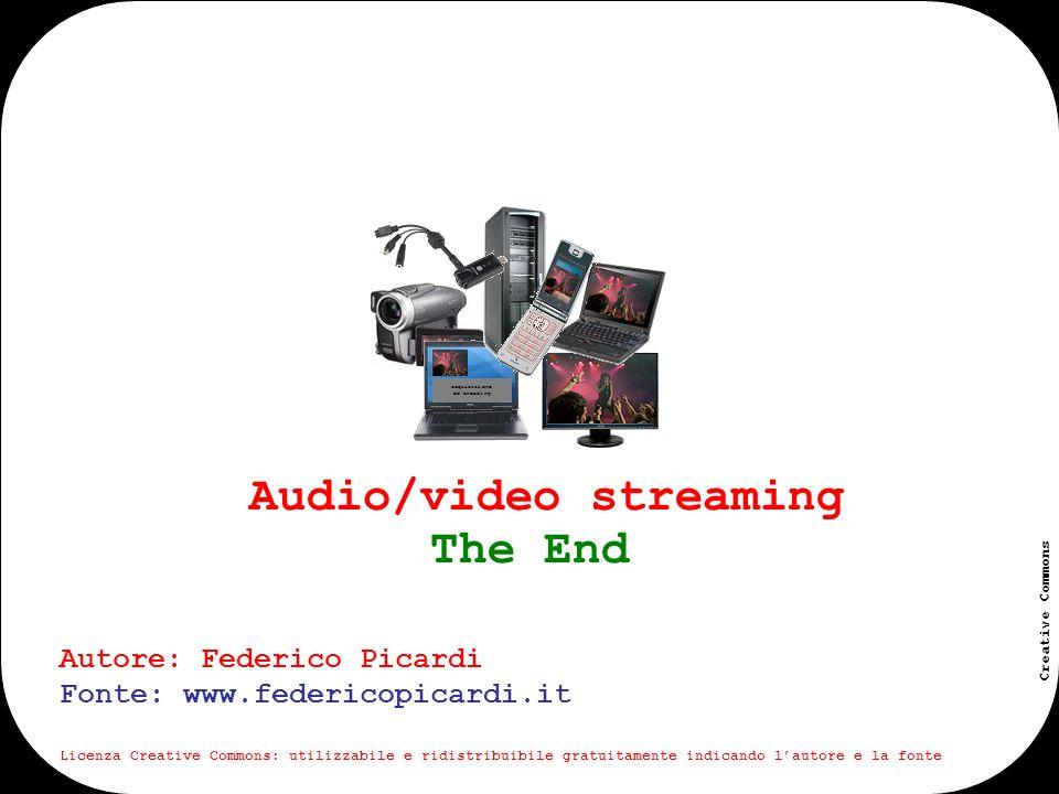 www.federicopicardi.it Creative Commons Audio/video streaming acquisizione ed encoding Autore: Federico Picardi Fonte: www.federicopicardi.it Licenza Creative Commons: utilizzabile e ridistribuibile gratuitamente indicando lautore e la fonte The End