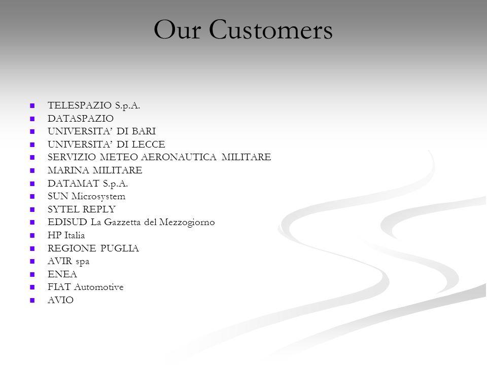 Our Customers TELESPAZIO S.p.A. DATASPAZIO UNIVERSITA DI BARI UNIVERSITA DI LECCE SERVIZIO METEO AERONAUTICA MILITARE MARINA MILITARE DATAMAT S.p.A. S