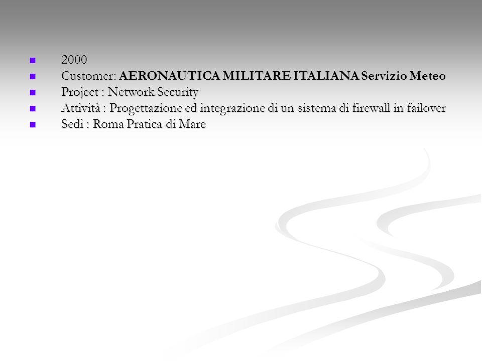 2000 2000 Customer: AERONAUTICA MILITARE ITALIANA Servizio Meteo Customer: AERONAUTICA MILITARE ITALIANA Servizio Meteo Project : Network Security Pro