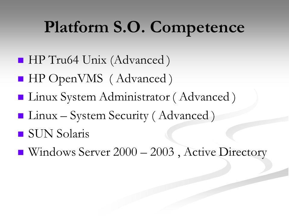 Platform S.O. Competence HP Tru64 Unix (Advanced ) HP OpenVMS ( Advanced ) Linux System Administrator ( Advanced ) Linux – System Security ( Advanced