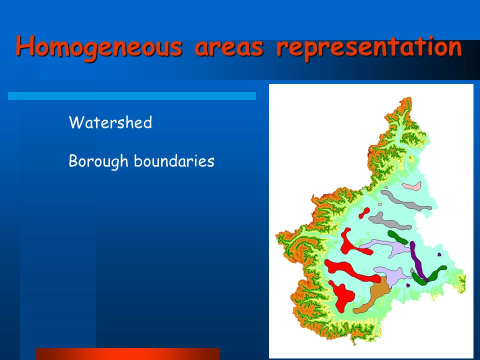 Homogeneous areas representation Watershed Borough boundaries
