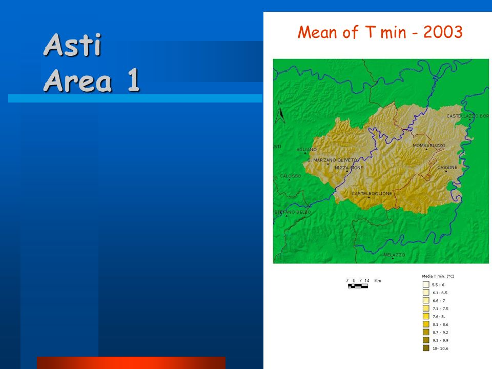Asti Area 1 Mean of T min - 2003