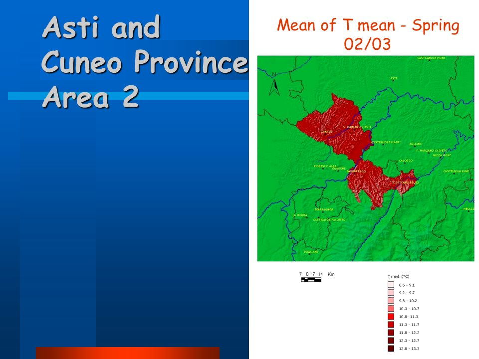 Asti and Cuneo Province Area 2 Mean of T mean - Spring 02/03