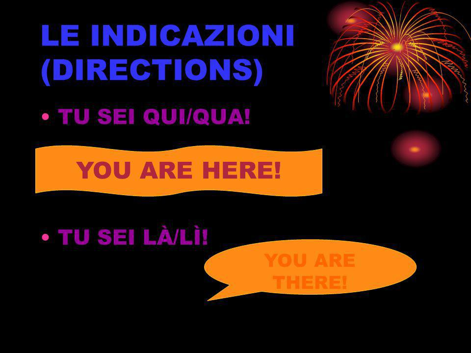 LE INDICAZIONI (DIRECTIONS) TU SEI QUI/QUA! TU SEI LÀ/LÌ! YOU ARE HERE! YOU ARE THERE!