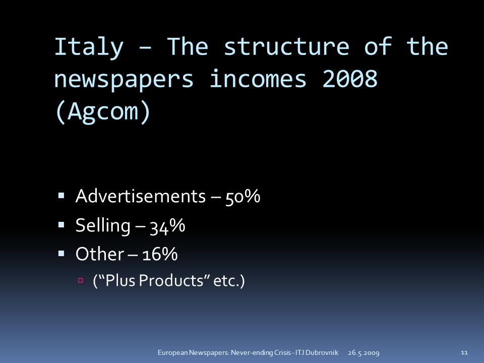 Italy – The structure of the newspapers incomes 2008 (Agcom) Advertisements – 50% Selling – 34% Other – 16% (Plus Products etc.) 26.5.2009European Newspapers: Never-ending Crisis - ITJ Dubrovnik 11