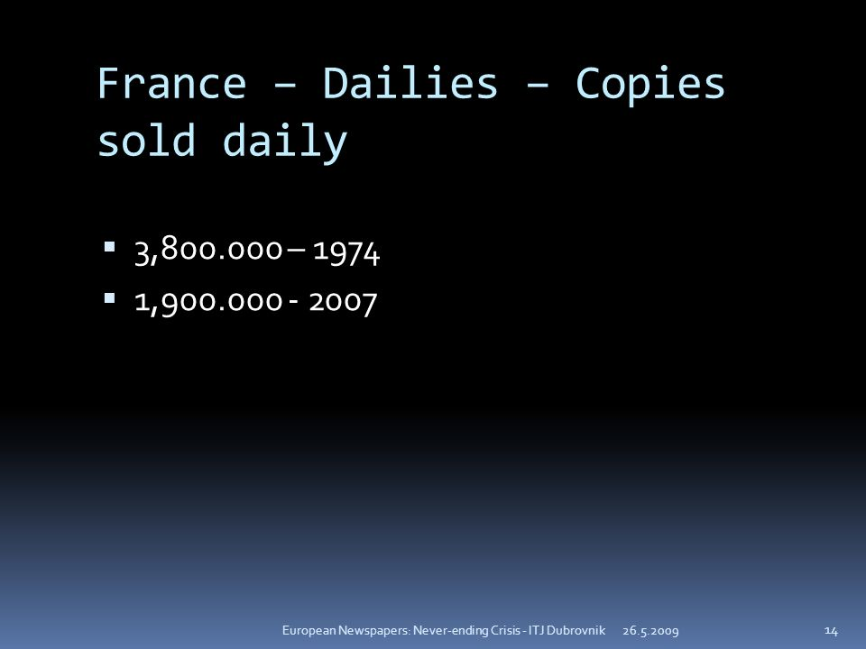 France – Dailies – Copies sold daily 3, – , European Newspapers: Never-ending Crisis - ITJ Dubrovnik 14