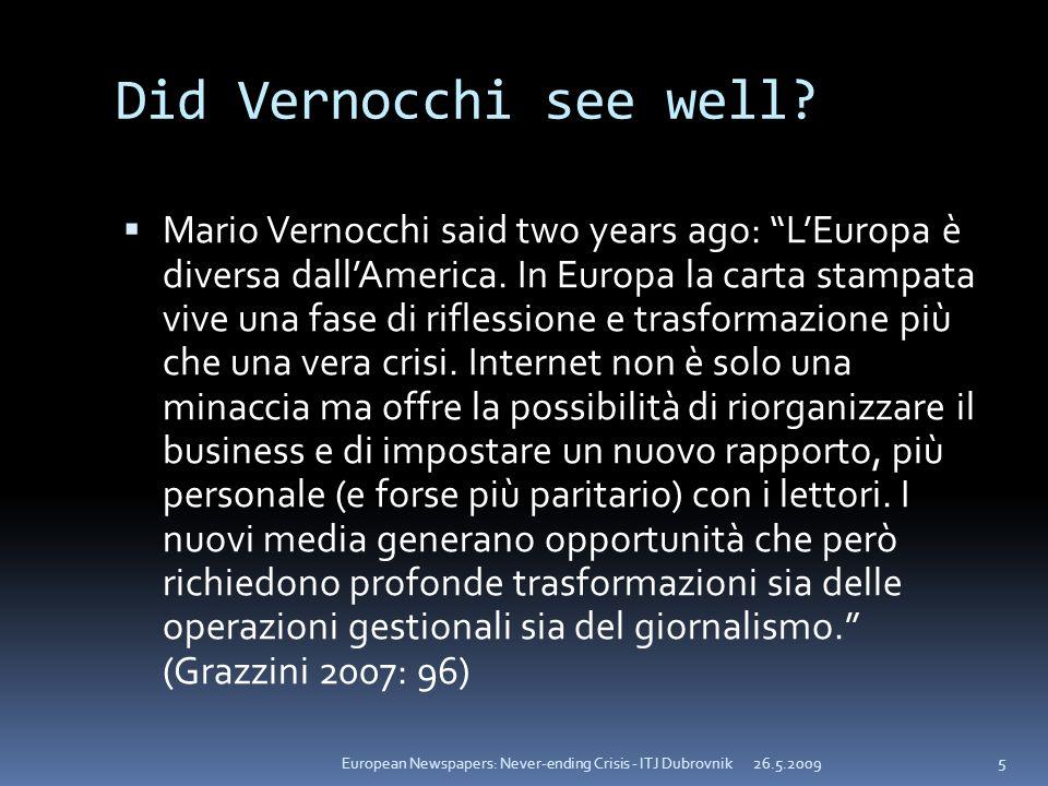 Did Vernocchi see well? Mario Vernocchi said two years ago: LEuropa è diversa dallAmerica. In Europa la carta stampata vive una fase di riflessione e
